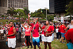 Catholics honor Sao Sebastiao who is the city's patron saint, in Rio de Janeiro, Brazil, on Sunday, Jan 22, 2013. Sao Sebastiao, who represents protection, was a Roman Guard soldier who refused to serve the Emperor Diocletian, and was sentenced to death.