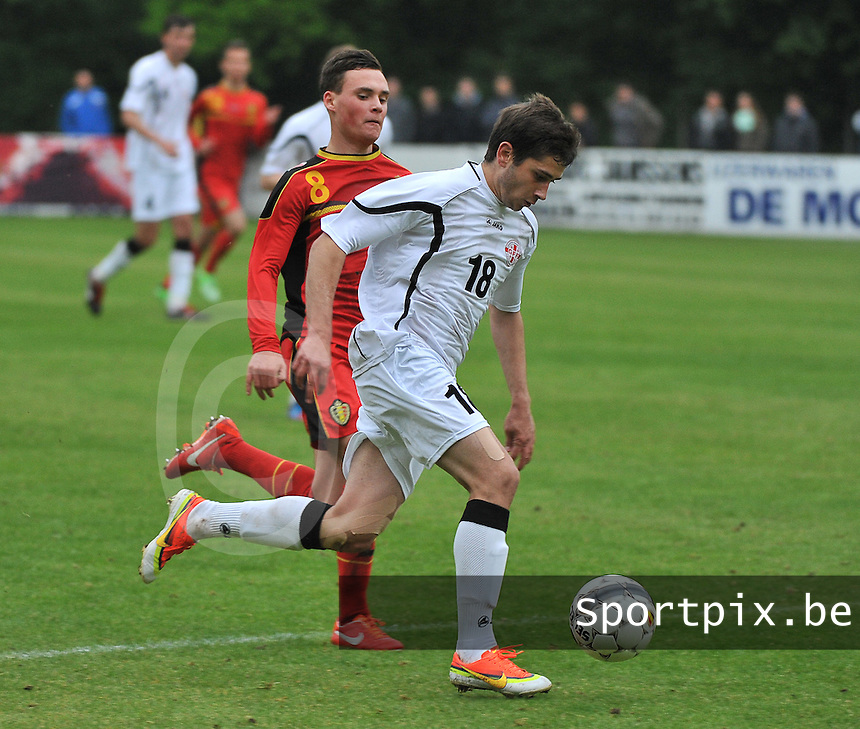 Georgia U19 - Belgium U19 : Luka Zarandia (18) and Birger Verstraete (8)<br /> foto DAVID CATRY / Nikonpro.be