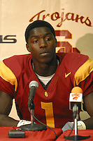 19 October 2002: USC Trojans #1 Reggie Williams after 41-21 win over Washington Huskies. NCAA Pac-10 College Football Media interview room. .<br />