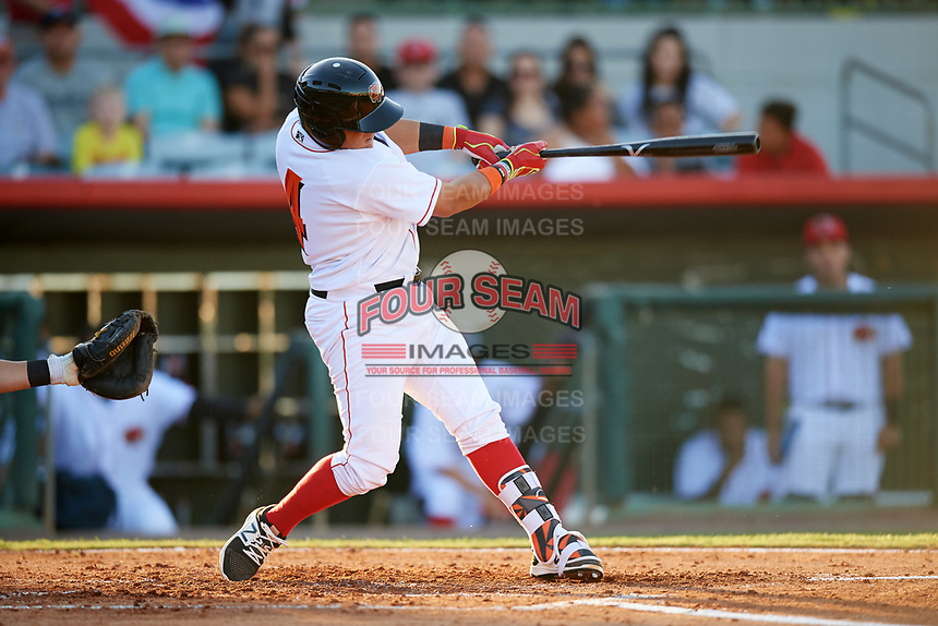 Florida Fire Frogs catcher Jonathan Morales (4) gets the first hit in the bottom of the second inning during the teams inaugural game against the Daytona Tortugas on April 6, 2017 at Osceola County Stadium in Kissimmee, Florida.  Daytona defeated Florida 3-1.  (Mike Janes/Four Seam Images)