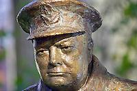 Sir Winston Churchill commemorative bronze statue in Paris