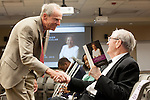 Norma's husband Jack greets guests as they arrive for a ceremony dedicating a hospital program in honor of his wife, Norma Melchor. Melchor, a former surgical nurse and ardent supporter of the hospital for more than 50 years, died Feb. 17 at the age of 87.<br />