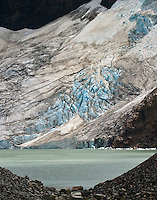 A portion of Glacier Piedras Blancas, a hanging glacier near the town of El Chalten in Parque Nacional los Glaciares (Norte), Argentina.