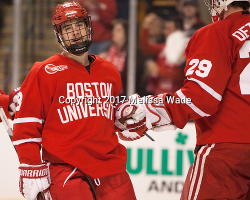 Ryan Cloonan (BU - 8) - The Boston University Terriers defeated the Boston College Eagles 3-1 in their opening Beanpot game on Monday, February 6, 2017, at TD Garden in Boston, Massachusetts.