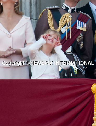 """LADY LOUISE at TROOPING THE COLOUR 2011..Lady Louise enjoying the flypast..Catherine, The Duchess of Cambridge at her first Trooping the Colour.The Duchess of Cambridge shared a carriage with The Duchess of Cornwall, Prince Harry and the Duke of York. Prince William accompanied his Farther Prince Charles on horse back for the first time along with Princess Anne and the Duke of Kent.The Second carriage was occupied by The Count and Countess of Wessex, Lady Louise and Princess Eugenie_Buckingham Palace, London_11/06/2011..Mandatory Photo Credit: ©Dias/Newspix International..**ALL FEES PAYABLE TO: """"NEWSPIX INTERNATIONAL""""**..PHOTO CREDIT MANDATORY!!: NEWSPIX INTERNATIONAL(Failure to credit will incur a surcharge of 100% of reproduction fees)..IMMEDIATE CONFIRMATION OF USAGE REQUIRED:.Newspix International, 31 Chinnery Hill, Bishop's Stortford, ENGLAND CM23 3PS.Tel:+441279 324672  ; Fax: +441279656877.Mobile:  0777568 1153.e-mail: info@newspixinternational.co.uk"""