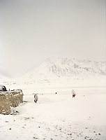 Two women and child walking away from camp..Campment of Ortobil (Sufi), all the way at the end of the Little Pamir, near the Tajik/China border. .Winter expedition through the Wakhan Corridor and into the Afghan Pamir mountains, to document the life of the Afghan Kyrgyz tribe. January/February 2008. Afghanistan