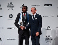 #1 overall pick Andre Blake of the Philadelphia Union stands with MLS commissioner Don Garber during the MLS SuperDraft at the Pennsylvania Convention Center in Philadelphia, PA, on January 16, 2014.
