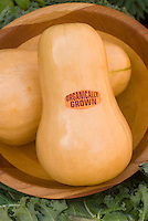 Organic Produce sign on squash in bowl