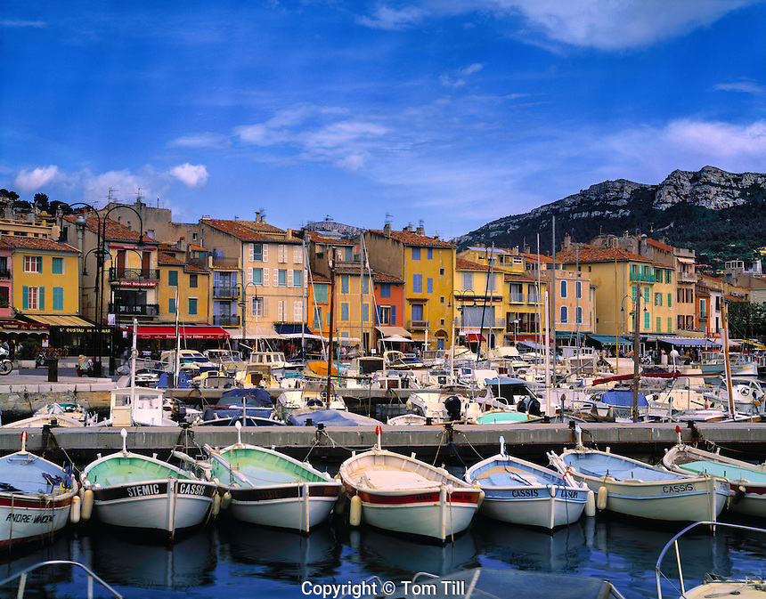 Boats and shops in Cassis  Provence France Mediterranean Sea 7th Century town near Calanques