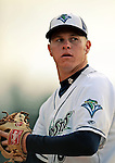 19 June 2008: Vermont Lake Monsters pitcher Brad Peacock warms up in the bullpen prior to a game against the Oneonta Tigers at historic Centennial Field in Burlington, Vermont. The Tigers defeated the Lake Monsters 13-8 in the rubber match of their three-game series in Vermont...Mandatory Credit: Ed Wolfstein Photo