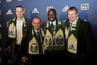 Andrew Jean-Baptiste 8th pick of first round by Portland Timbers,with coaching and management team... The 2012 MLS Superdraft was held on January 12, 2012 at The Kansas City Convention Center, Kansas City, MO.