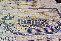 Italy: Ostia--Mosaic, Corporation floor. Merchantman. Photo '83.
