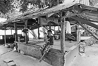 Homelife for a family in a simple shack in Tuvalu, South Pacific