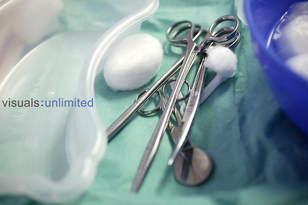 A collection of gynaecology tools ready to be used during the child birth. Royalty Free