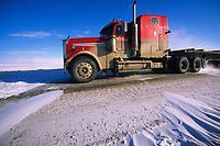 Semi truck hauls supplies to Prudhoe Bay Oil fields, James Dalton Highway, Brooks range, Arctic, Alaska