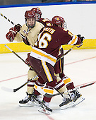 Chris Kreider (BC - 19), Tim Smith (Duluth - 16) - The Boston College Eagles defeated the University of Minnesota Duluth Bulldogs 4-0 to win the NCAA Northeast Regional on Sunday, March 25, 2012, at the DCU Center in Worcester, Massachusetts.