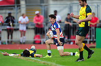 Christopher Levesley of Great Britain celebrates his first half try. FISU World University Championship Rugby Sevens Men's Cup Final between Australia and Great Britain on July 9, 2016 at the Swansea University International Sports Village in Swansea, Wales. Photo by: Patrick Khachfe / Onside Images