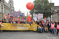 The Embankment, London, UK - 21st Oct 2012 - A Future that Works TUC protest rally in Central London. Photo credit - Jeff Thomas Photography.