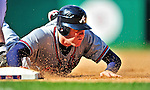 25 September 2010: Atlanta Braves infielder Freddie Freeman slides safely back to first during action against the Washington Nationals at Nationals Park in Washington, DC. The Braves shut out the Nationals 5-0 to even their 3-game series at one win apiece. The Braves' victory was the 2500th career win for skipper Bobby Cox. Cox will retire at the end of the 2010 season, crowning a 29-year managerial career. Mandatory Credit: Ed Wolfstein Photo