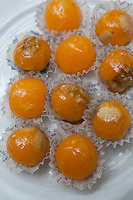 Detail of 'yemas' traditional Spanish sweets from Andalucia made from egg yolks