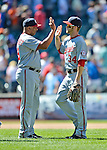 25 July 2012: Washington Nationals outfielder Bryce Harper gets high-fives after a game against the New York Mets at Citi Field in Flushing, NY. The Nationals defeated the Mets 5-2 to sweep their 3-game series. Mandatory Credit: Ed Wolfstein Photo