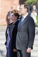 Mariano Rajoy and Brazil's president Dilma Rousseff at Moncloa Palace