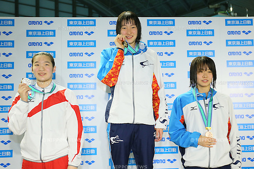 (L to R) <br /> Ryoka Nishida, <br /> Natsumi Sakai, <br /> Sena Someya, <br /> MARCH 29, 2015 - Swimming : <br /> The 37th JOC Junior Olympic Cup <br /> Women's 50m Backstroke <br /> 13-14 years old award ceremony <br /> at Tatsumi International Swimming Pool, Tokyo, Japan. <br /> (Photo by YUTAKA/AFLO SPORT)
