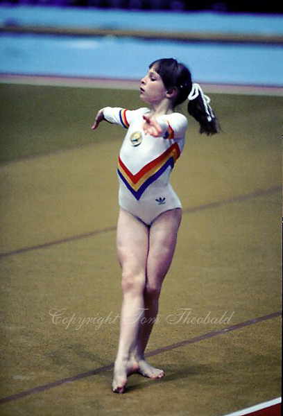 Daniela Silivas of Romania performs on floor exercise at 1985 European Championships in women's artistic gymnastics at Helsinki, Finland in late April, 1985.  Photo by Tom Theobald.
