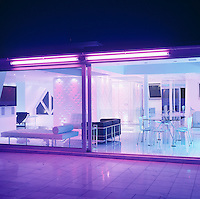 At night this penthouse is transformed by multicoloured lights which can be altered to suit the mood of the evening