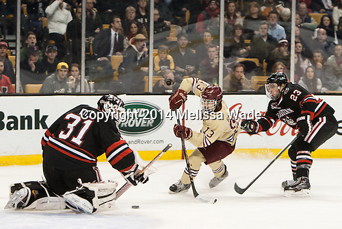 Clay Witt (NU - 31), Johnny Gaudreau (BC - 13), Colton Saucerman (NU - 23) - The Boston College Eagles defeated the Northeastern University Huskies 4-1 (EN) on Monday, February 10, 2014, in the 2014 Beanpot Championship game at TD Garden in Boston, Massachusetts.