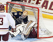 David Gerths (ND - 10), Thatcher Demko (BC - 30) - The visiting University of Notre Dame Fighting Irish defeated the Boston College Eagles 7-2 on Friday, March 14, 2014, in the first game of their Hockey East quarterfinals matchup at Kelley Rink in Conte Forum in Chestnut Hill, Massachusetts.