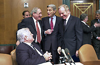 Washington, DC - January 11, 2001 -- United States Senator Joseph Lieberman's (Democrat of Connecticut) colleagues welcome him back to the Senate in Washington, DC on January 11, 20001 after his unsuccessful run for Vice President. Left to right: U.S. Senator Edward M. &quot;Ted&quot; Kennedy (Democrat of Massachusetts), U.S. Senator Carl Levin (Democrat of Michigan), U.S. Senator John Warner (Republican of Virginia), and Senator Lieberman.<br /> Credit: Ron Sachs / CNP/MediaPunch