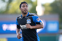 Arturo Alvarez runs to take the corner kick. The San Jose Earthquakes defeated Chivas USA 6-5 in shootout after drawing 0-0 in regulation time to win the inagural Sacramento Cup at Raley Field in Sacramento, California on June 12, 2010.