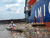 Canoeing through the Houston Shipping Channel
