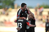 Chris Pontius (13) of D.C. United celebrates with team mates Nick DeLeon and John Thorrington (8) his score. D.C. United defeated the The New England Revolution 3-1 in the Quarterfinals of Lamar Hunt U.S. Open Cup, at the Maryland SoccerPlex, Tuesday June 26 , 2013.