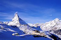 Switzerland,Zermatt, the Matterhorn. Hotel located in the mountains with the Matterhorn in the background