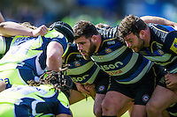 Rob Webber of Bath Rugby calls out at a scrum. Aviva Premiership match, between Bath Rugby and Sale Sharks on April 23, 2016 at the Recreation Ground in Bath, England. Photo by: Patrick Khachfe / Onside Images