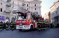 Roma 1 Dicembre 2001  .I Funerali  dei  quattro Vigili del Fuoco, morti nel esplosione  di via Ventotene.Rome December 1 st 2001  .The Funerals of the four firefighter, dead in the explosion of Via Ventotene