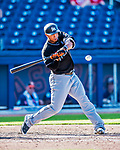 1 March 2017: Miami Marlins outfielder Moises Sierra in Spring Training action against the Houston Astros at the Ballpark of the Palm Beaches in West Palm Beach, Florida. The Marlins defeated the Astros 9-5 in Grapefruit League play. Mandatory Credit: Ed Wolfstein Photo *** RAW (NEF) Image File Available ***