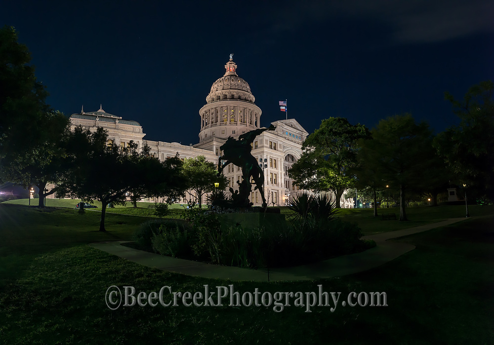 The cowboy way staue with horse and rider with the Texas Capitol all lit up at night panorama was kind of different.