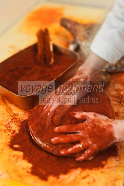 Europe/France/Aquitaine/64/Pyrénées-Atlantiques/Pays Basque/Guiche: Les jambons de Bayonne, IGP, sont enduits de Piment d'Epelette- Maison Montauzer [