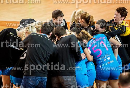 Team Krim during 2nd Leg handball match between RK Krim Mercator and HC Lada Togliatti (RUS) in Semifinal of Women Cup Winners' Cup 2015/16, on April 9, 2016 in Arena Kodeljevo, Ljubljana, Slovenia. Photo by Vid Ponikvar / Sportida