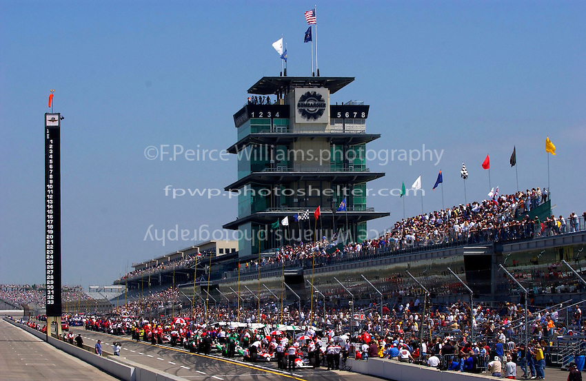 """Carburation Day for the 87th Indianapolis 500, Indianapolis Motor Speedway, Speedway, Indiana, USA  22 May,2003.The Scoring Pylon, Pagoda and flags on """"Carb Day"""" morning..World Copyright©F.Peirce Williams 2003 .ref: Digital Image Only..F. Peirce Williams .photography.P.O.Box 455 Eaton, OH 45320.p: 317.358.7326  e: fpwp@mac.com.."""
