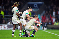 Owen Farrell of England celebrates his second half try with team-mates. Old Mutual Wealth Series International match between England and South Africa on November 12, 2016 at Twickenham Stadium in London, England. Photo by: Patrick Khachfe / Onside Images