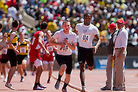 Corey Brown of Cardinal O'Hara, pulls his team into the lead before handing off to Bob Boyle in the High School Boys' 4x400 Philadelphia Catholic on April 24 at the Penn Relays. O'Hara took first in 3:19.35.