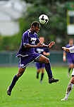 13 September 2009: University of Portland Pilots' midfielder Collen Warner, a Senior from Denver, CO, jumps to head the ball against the University of New Hampshire Wildcats during the second round of the 2009 Morgan Stanley Smith Barney Soccer Classic held at Centennial Field in Burlington, Vermont. The Pilots defeated the Wildcats 1-0 and inso doing were the Tournament Champions for 2009. Mandatory Photo Credit: Ed Wolfstein Photo