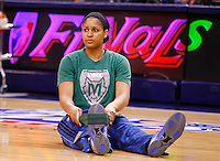 INDIANAPOLIS, IN - OCTOBER 21: Maya Moore #23 of the Minnesota Lynx stretches before playing against the Indiana Fever in Game Four of the 2012 WNBA Finals on October 21, 2012 at Bankers Life Fieldhouse in Indianapolis, Indiana. NOTE TO USER: User expressly acknowledges and agrees that, by downloading and or using this Photograph, user is consenting to the terms and conditions of the Getty Images License Agreement. (Photo by Michael Hickey/Getty Images) *** Local Caption *** Maya Moore