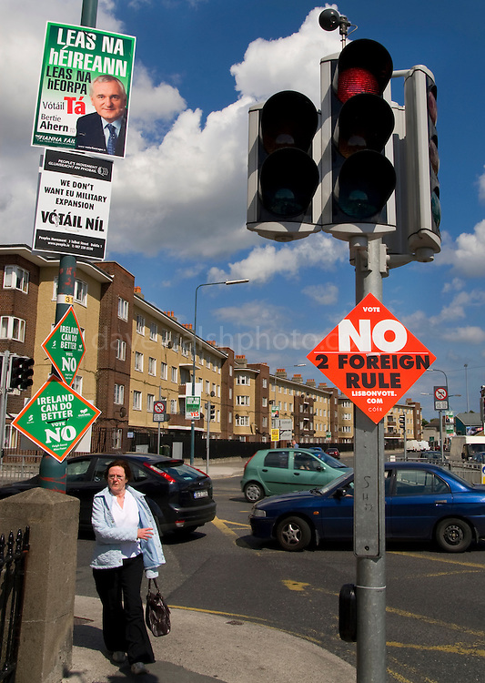 """Editorial Use Only: Red light for Lisbon Treaty at Ballybough, Dublin. Poster calling for a no against """"foreign rule"""". Former Taoiseach (Prime Minister) Bertie Ahern looks on from another poster, calling for a """"yes"""". The vote takes places on 12 June 2008. As of June 6th, the no-vote was reportedly overtaking the yes campaign..."""