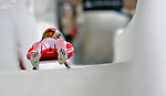 7 February 2009: Maciej Kurowski slides for Poland in the Men's Competition at the 41st FIL Luge World Championships, in Lake Placid, New York, USA. .  .Mandatory Photo Credit: Ed Wolfstein Photo