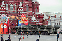Moscow, Russia, 06/05/2010..Topol-M intercontinental ballistic missiles during a Red Square rehearsal for the forthcoming May 9 Victory Day parade, scheduled to be the largest for many years.